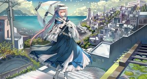 Rating: Safe Score: 43 Tags: arknights cape ceylon_(arknights) cropped landscape qihai_lunpo scenic umbrella User: BattlequeenYume