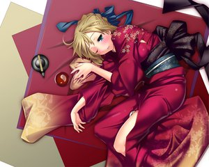 Rating: Safe Score: 50 Tags: aqua_eyes artoria_pendragon_(all) blonde_hair blush fate_(series) fate/stay_night japanese_clothes nilitsu saber short_hair User: 秀悟