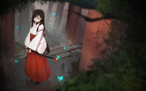 Rating: Safe Score: 125 Tags: aqua_eyes black_hair braids butterfly cang_yue_xue_feng forest japanese_clothes katana long_hair magic miko original sword tree weapon User: RyuZU