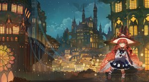 Rating: Safe Score: 11 Tags: animal axle bell blush building cat clouds dragon dress green_eyes hat long_hair night original red_hair sky stars witch_hat User: BattlequeenYume