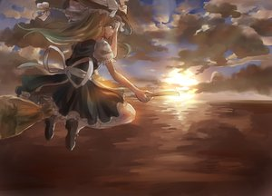 Rating: Safe Score: 85 Tags: 039love-s-c apron blonde_hair bow braids clouds dress hat kirisame_marisa long_hair ribbons sky socks sunset touhou witch User: C4R10Z123GT