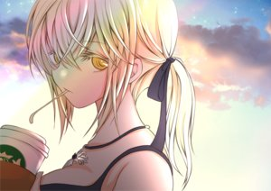 Rating: Safe Score: 14 Tags: blonde_hair close clouds drink fate/grand_order fate_(series) long_hair necklace ponytail ribbons saber saber_alter sheepd sky yellow_eyes User: otaku_emmy