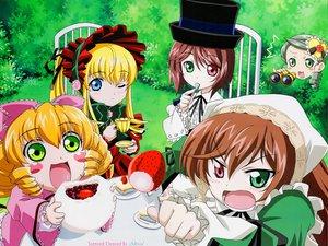 Rating: Safe Score: 16 Tags: bicolored_eyes food fruit group hina_ichigo kanaria rozen_maiden shinku souseiseki strawberry suiseiseki twins User: Oyashiro-sama