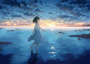 Rating: Safe Score: 43 Tags: anyotete barefoot black_eyes black_hair clouds dress original short_hair sky summer_dress sunset water User: RyuZU