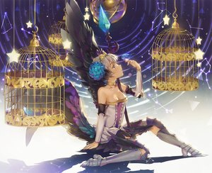 Rating: Safe Score: 55 Tags: animal barefoot bird breasts cage choker cleavage dangmill gray_hair gwendolyn headdress odin_sphere short_hair wings User: Eleanor