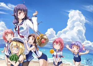 Rating: Safe Score: 42 Tags: anthropomorphism aqua_eyes beach black_hair blonde_hair blush brown_eyes brown_hair clouds food fruit glasses group hat i-168_(kancolle) i-19_(kancolle) i-401_(kancolle) i-58_(kancolle) i-8_(kancolle) kantai_collection loli long_hair mousoup pantyhose pink_eyes pink_hair purple_hair red_eyes school_uniform short_hair sky swimsuit taigei_(kancolle) tie water User: RyuZU