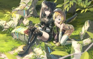 Rating: Safe Score: 33 Tags: 2girls bicolored_eyes black_hair blonde_hair boots breasts cleavage flat_chest food grass kaku-san-sei_million_arthur loli long_hair nodata red_eyes short_hair tagme_(character) thighhighs twintails wings User: RyuZU