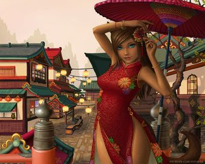 Rating: Safe Score: 58 Tags: animal_ears aqua_eyes brown_hair catgirl chinese_clothes chinese_dress dark_skin dress final_fantasy final_fantasy_xiv long_hair miqo'te tail umbrella veralde watermark User: SciFi
