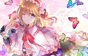 Rating: Safe Score: 56 Tags: 2girls alice_margatroid blonde_hair butterfly doll kazu_(muchuukai) long_hair shanghai_doll short_hair touhou wink User: BattlequeenYume