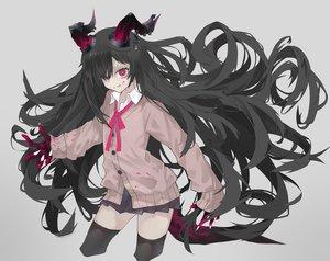 Rating: Safe Score: 32 Tags: black_hair blood demon gray horns kesuno long_hair original red_eyes ribbons seifuku skirt tail thighhighs zettai_ryouiki User: otaku_emmy