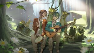 Rating: Safe Score: 33 Tags: all_male animal barefoot bear bird butterfly forest free! guitar instrument male matsuoka_rin nanase_haruka_(free!) rabbit suit tie tree User: humanpinka