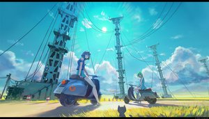Rating: Safe Score: 187 Tags: 2girls animal arsenixc boots building cat clouds crossover eureka eureka_seven goggles grass green_hair isle_of_winds motorcycle purple_hair scenic short_hair skirt sky watermark wristwear yumi_(isle_of_winds) User: opai