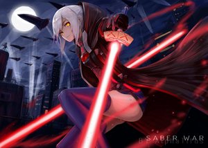 Rating: Safe Score: 109 Tags: alphatitus building city clouds fate/grand_order fate_(series) gloves heroine_x heroine_x_alter lightsaber moon night scenic short_hair skirt sky sword thighhighs watermark weapon white_hair yellow_eyes User: BattlequeenYume