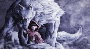 Rating: Safe Score: 203 Tags: animal big_bad_wolf black_hair fang little_red_riding_hood namacotan original red_eyes red_riding_hood short_hair wolf User: Flandre93