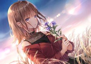 Rating: Safe Score: 205 Tags: brown_hair flowers original purple_eyes short_hair sky yumesaki User: BattlequeenYume