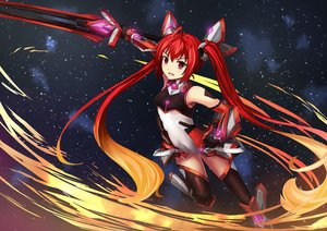 Rating: Safe Score: 119 Tags: dance_of_eternity genderswap long_hair mitsuka_souji ore_twintail_ni_narimasu red_eyes red_hair skintight sword tail_red thighhighs twintails weapon User: Flandre93