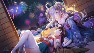 Rating: Safe Score: 89 Tags: 2girls brown_hair crying fireworks gray_hair houchi_shoujo japanese_clothes long_hair monini shoujo_ai signed sky tears thighhighs User: BattlequeenYume