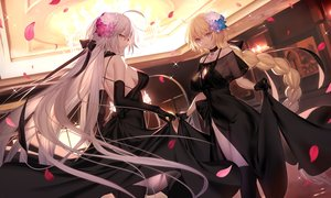 Rating: Safe Score: 128 Tags: blonde_hair blue_eyes bow braids breasts choker cleavage dress elbow_gloves fate/grand_order fate_(series) flowers gloves gray_hair jeanne_d'arc_alter jeanne_d'arc_(fate) long_hair necklace petals ponytail ribbons see_through shinooji skirt_lift thighhighs yellow_eyes User: BattlequeenYume