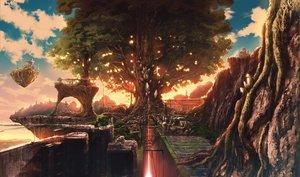 Rating: Safe Score: 90 Tags: building city oboro_(hika_fin) original scenic sunset tree User: FormX
