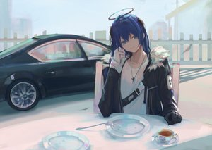 Rating: Safe Score: 47 Tags: 7ife arknights blue_eyes blue_hair car drink gloves halo long_hair mostima_(arknights) necklace User: BattlequeenYume
