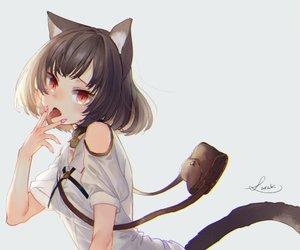 Rating: Safe Score: 49 Tags: animal_ears bell brown_hair catgirl collar cropped dress fang original red_eyes saraki short_hair signed summer_dress tail User: otaku_emmy