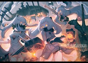 Rating: Safe Score: 77 Tags: aircraft aircraft_carrier_hime aliasing anthropomorphism armor breasts cleavage dress fire jpeg_artifacts kantai_collection long_hair midway_hime northern_ocean_hime orange_eyes panties underwear usanekorin white_hair User: Flandre93
