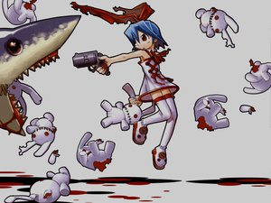 Rating: Safe Score: 27 Tags: animal blood disgaea gray gun mazda pleinair rabbit shark weapon User: Oyashiro-sama