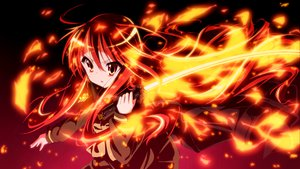 Rating: Safe Score: 129 Tags: fire keeeesuke long_hair red_eyes red_hair school_uniform shakugan_no_shana shana sword weapon User: opai