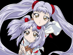 Rating: Safe Score: 5 Tags: 2girls close gray_hair hoshino_ruri long_hair martian_successor_nadesico transparent twintails uno_makoto vector yellow_eyes User: Oyashiro-sama