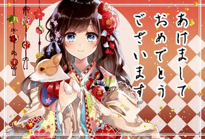 Rating: Safe Score: 37 Tags: animal aqua_eyes blush brown_hair dog dress flowers japanese_clothes long_hair original ribbons tagme_(artist) translation_request User: BattlequeenYume
