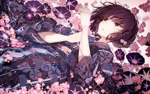 Rating: Safe Score: 42 Tags: atha black_eyes black_hair blush flowers japanese_clothes original polychromatic short_hair water yukata User: BattlequeenYume