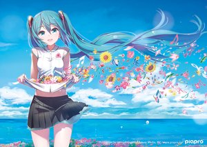 Rating: Safe Score: 101 Tags: aqua_eyes aqua_hair clouds flowers hatsune_miku logo long_hair music pomon_illust shirt_lift skirt sky twintails vocaloid waifu2x water User: luckyluna
