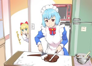 Rating: Safe Score: 17 Tags: 2girls apron aqua_hair black_hair bow candy chocolate green_eyes headdress jpeg_artifacts maid original red_eyes short_hair translation_request ueyama_michirou User: RyuZU