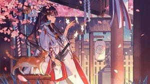 Rating: Safe Score: 207 Tags: animal aqua_eyes bird black_hair building cat japanese_clothes kimono long_hair petals ribbons sword weapon zicai_tang User: RyuZU