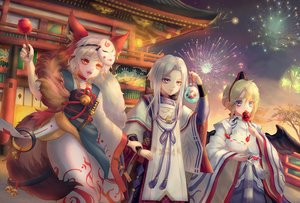 Rating: Safe Score: 30 Tags: animal animal_ears apple bell blonde_hair blue_eyes candy daitengu fireworks fish food fruit hat japanese_clothes kerokeroyeah knife male mask onmyouji red_eyes short_hair tagme_(character) tail tree weapon white_hair wings User: BattlequeenYume
