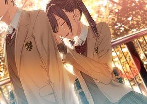 Rating: Safe Score: 32 Tags: bow brown_hair crying kukiha long_hair male original seifuku skirt tears twintails User: RyuZU