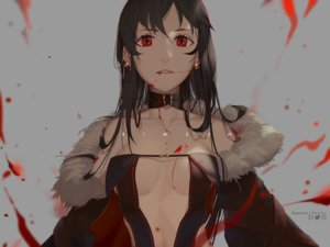 Rating: Safe Score: 35 Tags: black_hair blood breasts choker consort_yu dress fate/grand_order fate_(series) gray long_hair red_eyes reichiou watermark User: otaku_emmy