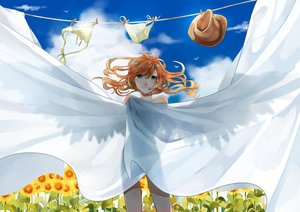 Rating: Safe Score: 48 Tags: blue_eyes flowers long_hair nude orange_hair original see_through sky soto_(artist) summer sunflower wings User: gnarf1975
