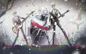 Rating: Safe Score: 59 Tags: aliasing bones drums flowers gloves goth-loli gray_eyes group guitar instrument lolita_fashion long_hair microphone mullpull original pantyhose rose signed skull watermark white_hair User: otaku_emmy