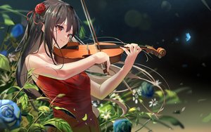 Rating: Safe Score: 78 Tags: black_hair blush braids butterfly close flowers instrument kinoruru_toiro long_hair original rose violin User: BattlequeenYume