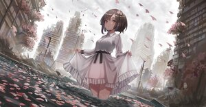 Rating: Safe Score: 80 Tags: building cherry_blossoms city clouds dress flowers original petals ruins short_hair sky water yu_ni_t User: BattlequeenYume