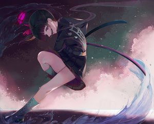 Rating: Safe Score: 44 Tags: boots butterfly katana kimetsu_no_yaiba nekobell skirt sword tsuyuri_kanao weapon User: FormX