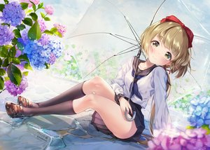 Rating: Safe Score: 84 Tags: brown_eyes brown_hair flowers idolmaster idolmaster_cinderella_girls kneehighs paintmusume ponytail school_uniform short_hair signed skirt umbrella yorita_yoshino User: BattlequeenYume