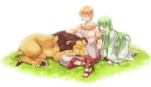 Rating: Safe Score: 65 Tags: all_male animal barefoot enkidu fate_(series) fate/stay_night fate/strange_fake fate/zero gilgamesh grass green_eyes green_hair lion male orange_hair tsu User: w7382001