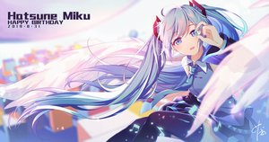 Rating: Safe Score: 35 Tags: blue_eyes blue_hair chaji_xiao_bai hatsune_miku long_hair signed tie twintails vocaloid wings User: FormX