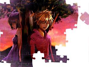 Rating: Safe Score: 11 Tags: kagamine_len kagamine_rin male sunset tree vocaloid User: HawthorneKitty