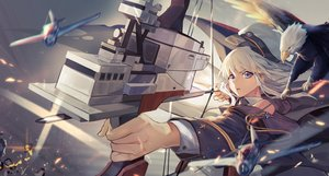 Rating: Safe Score: 50 Tags: aircraft animal anthropomorphism azur_lane bird blue_eyes bow_(weapon) enterprise_(azur_lane) hat long_hair rff_(3_percent) weapon white_hair User: RyuZU