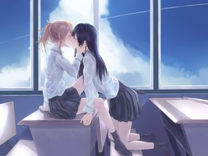 Rating: Safe Score: 25 Tags: 2girls aihara_yuzu_(citrus) black_hair blonde_hair citrus_(saburouta) clouds kiss long_hair ponytail seifuku skirt sky socks tagme_(artist) tagme_(character) User: BattlequeenYume