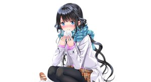 Rating: Safe Score: 104 Tags: adagaki_aki aqua_eyes black_hair blush cropped food long_hair masamune-kun_no_revenge pantyhose scarf skirt swordsouls white User: luckyluna