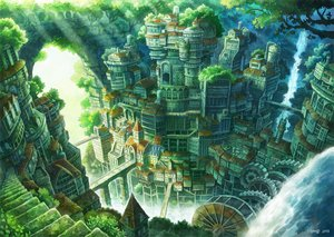 Rating: Safe Score: 246 Tags: building city green kemi_neko nobody original scenic signed stairs tree water waterfall User: luckyluna